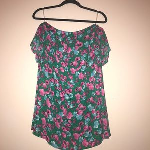 PEACH LOVE off the shoulder green and pink dress